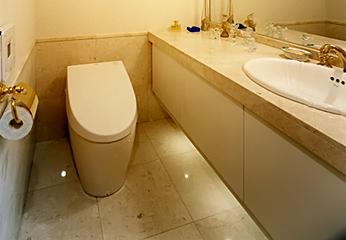 床・腰壁に大理石を使用したトイレ
